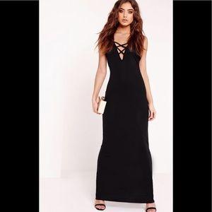 NWT Criss Cross Black Maxi Dress